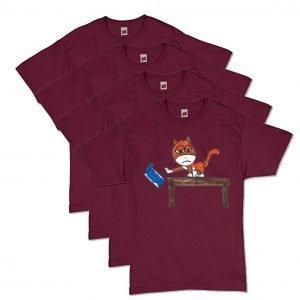 Maroon Brat Cat T-Shirt