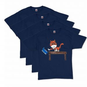 Navy Blue Brat Cat T-Shirt