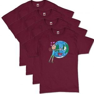 Maroon Earth Love T-Shirt
