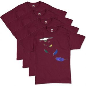 Maroon Flying Feathers T-Shirt