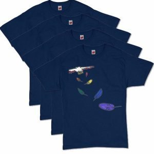 Navy Blue Flying Feathers T-Shirt