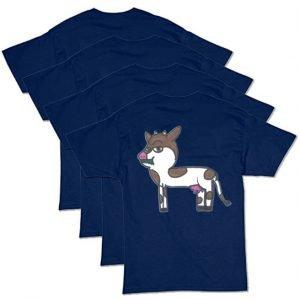 Navy Blue Cow T-Shirt